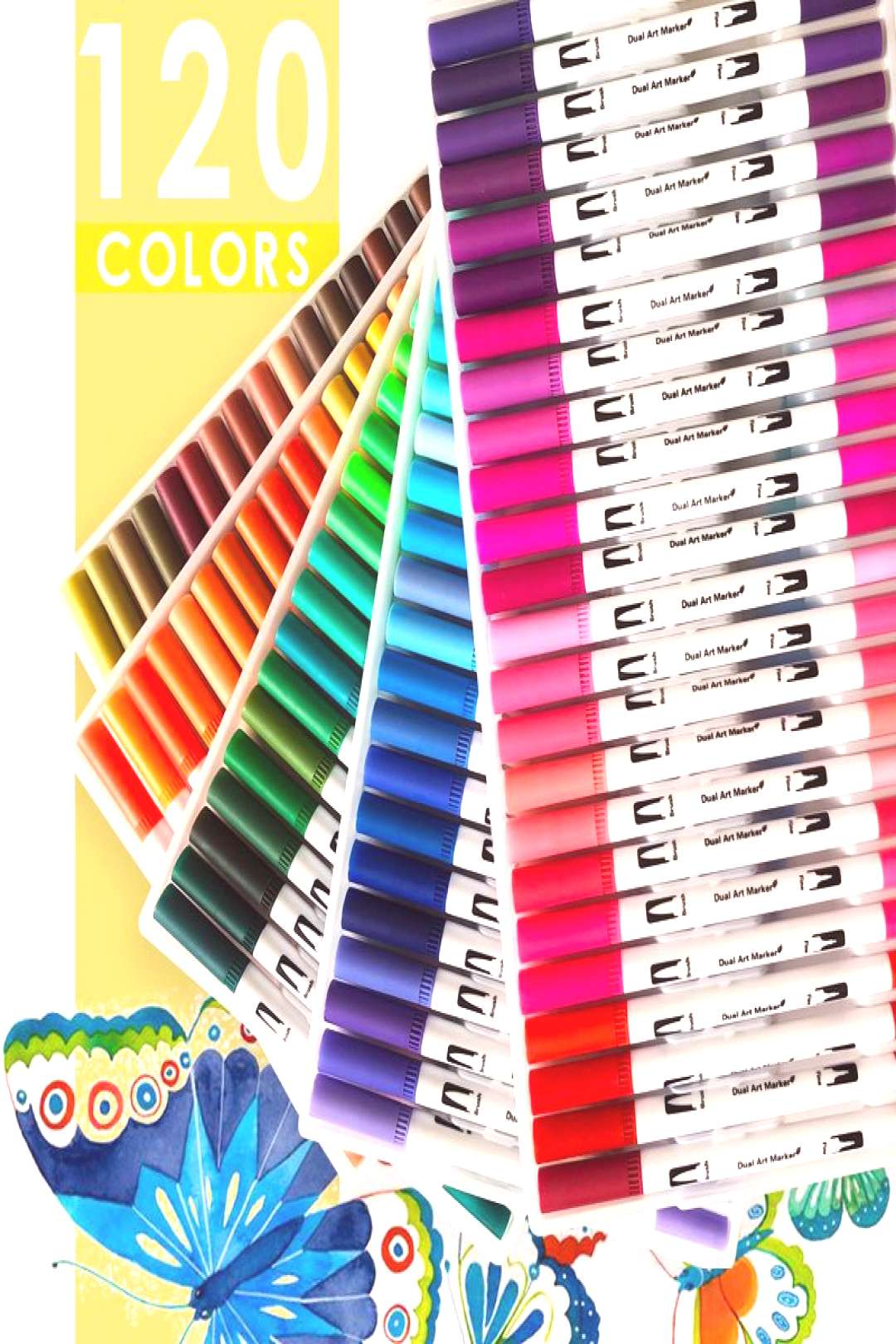 120 Colors Fineliner Dual Tip Brush Pens Drawing Painting Watercolor Art Marker Pens School Supplie