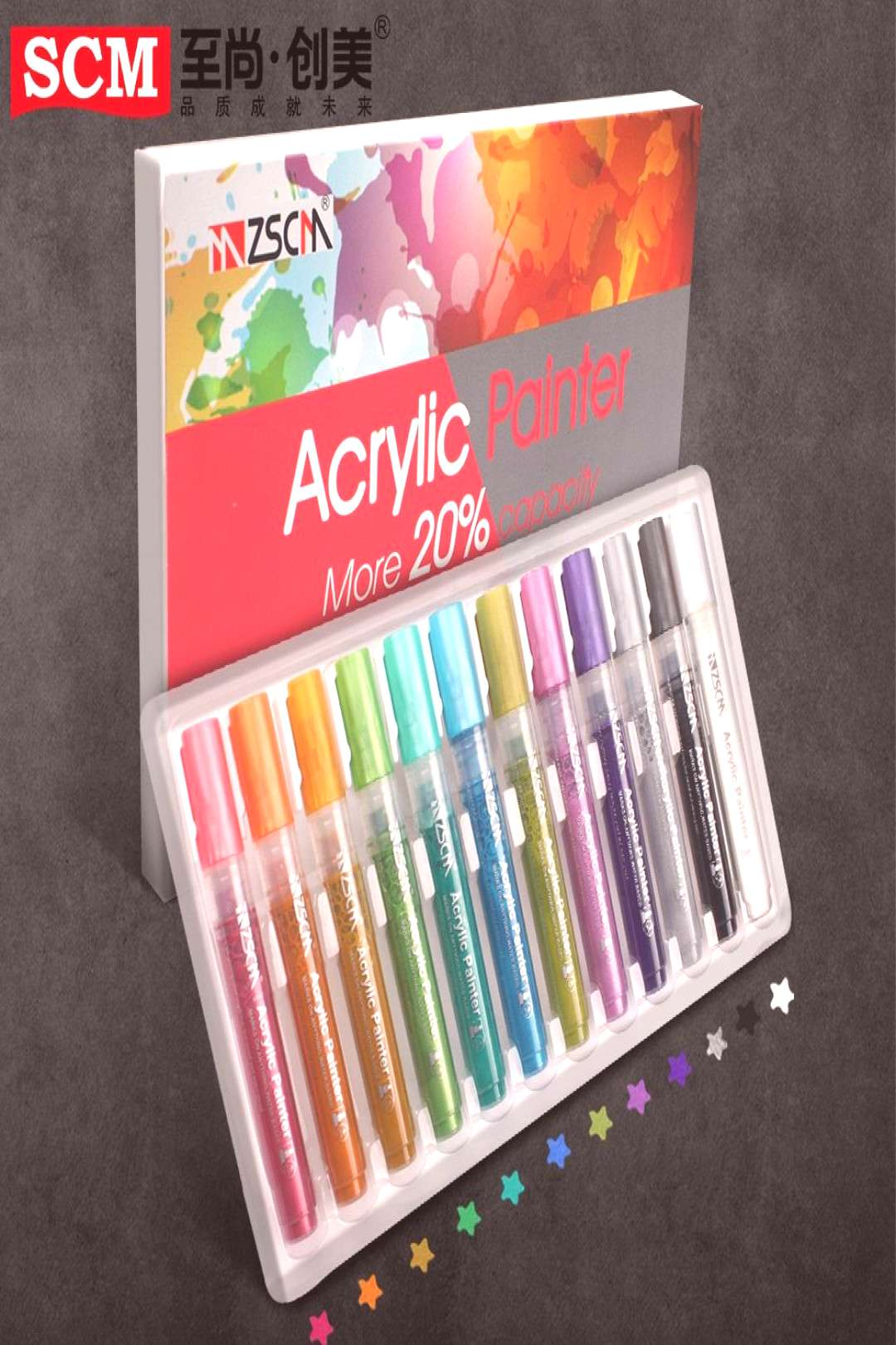 12pcs/set Acrylic Painter Metallic Marker Water-based Pigment Ink Marker Pens Candy Waterproof Colo