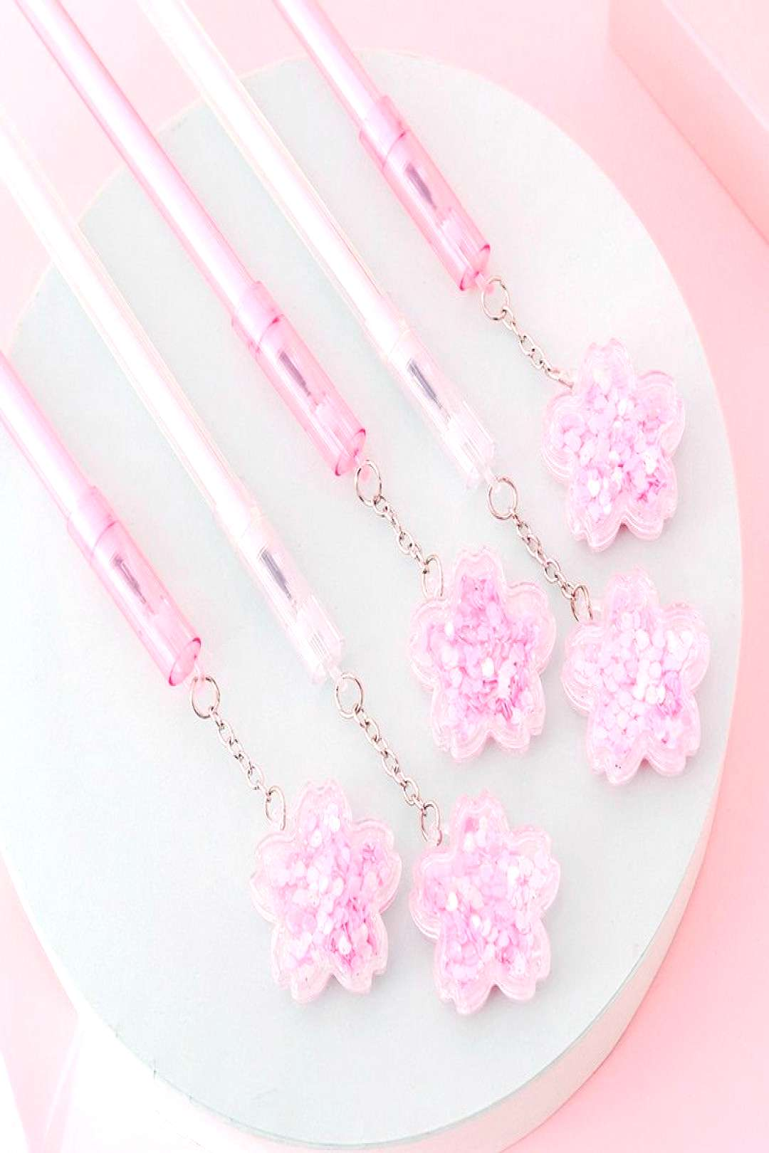 1pcs Quicksand Sequined Cherry Blossom Pendant Gel Pen Black Ink Cute Stationery School Office Supp