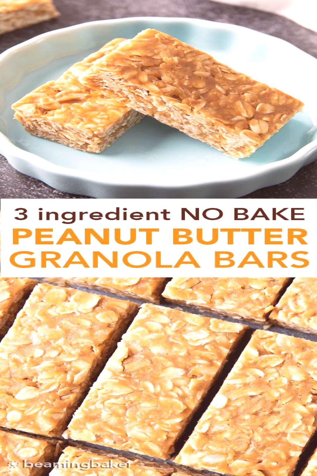 3 Ingredient No Bake Peanut Butter Granola Bars