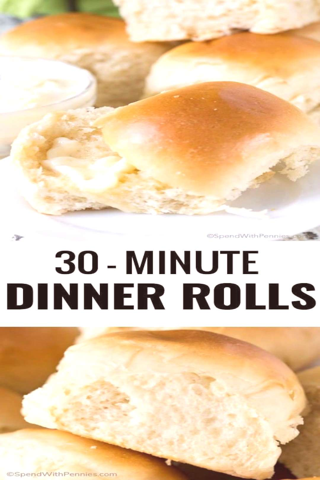 30 Minute Dinner Rolls - Spend With Pennies#dinner