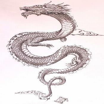 ▷ Over 75 ideas for tattoo motifs with a deep meaning -  japanese dragon in the sky, little cloud