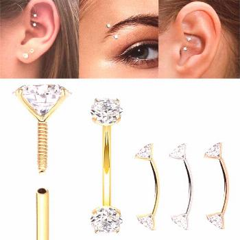 14K Gold Internally Threaded Curved Barbell for Rook, Eyebrow, Daith Piercing