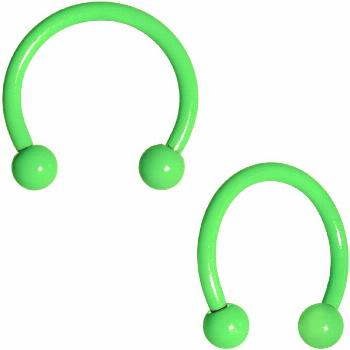 16 Gauge 3/8 Green Glow in the Dark Horseshoe Curved Barbell Set. This 16 gauge universal body jewe