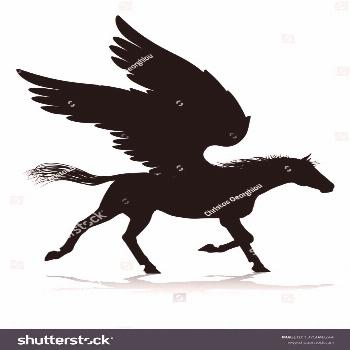 A Pegasus silhouette mythological winged horse graphic ,
