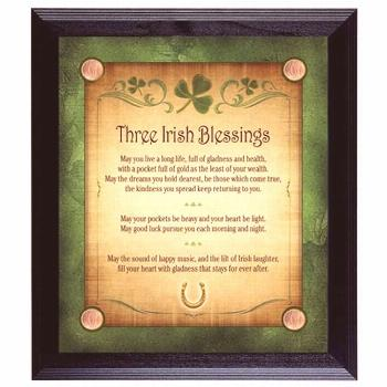 American Coin Treasures 11893 Three Irish Blessings with 4 Lucky Irish Pennies Wall Frame#american