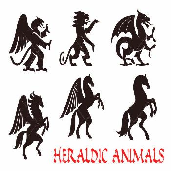Animals heraldic emblems. Vector silhouette icons. Griffin, Dragon, Lion, Pegasus, Horse outline fo