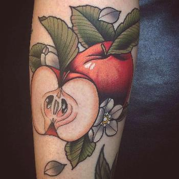 Apple tattoo by @kotynymantattoo at Heart & Soul Tattoo in East Greenville PA