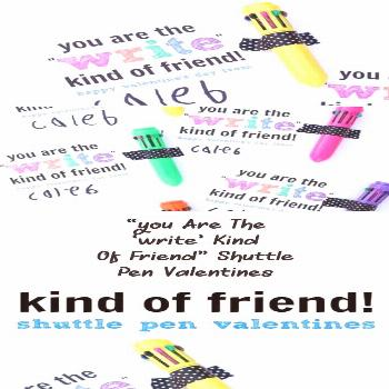 Awesome non-candy valentine!  You are the Write Kind of Friend Valentines with mini shuttle pens!