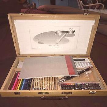 Beautiful New Wood Art Supply Suitcase W Easel New Paints Pastels Brushes Etc