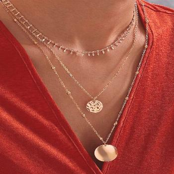 Coin Charm Layered Necklace