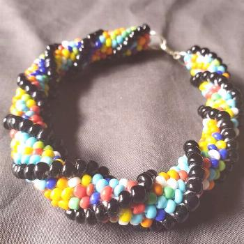 Colorful bracelet - crocheted bracelet with black double helix design The beautiful ... -  Colorful