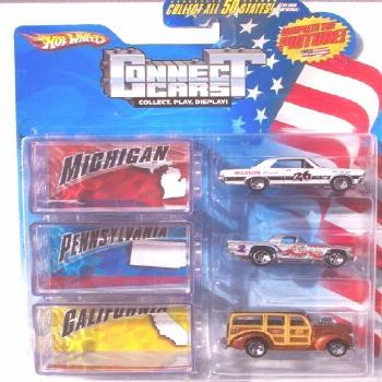 Connect Cars Hot Wheels Starter Set Michigan Pennsylvania California with Displa...,  Connect Cars