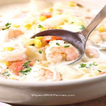 Creamy Seafood Chowder - Spend With Pennies  Seafood chowder is a delicious and creamy soup loaded