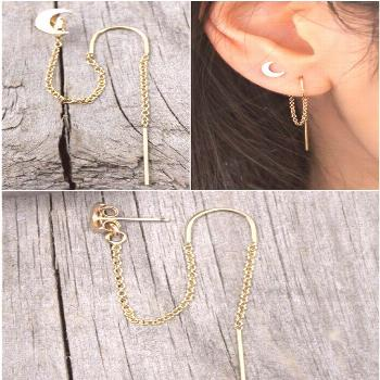 Crescent moon threader earrings filled heavenly 14k gold thread thread, double piercings combo, set