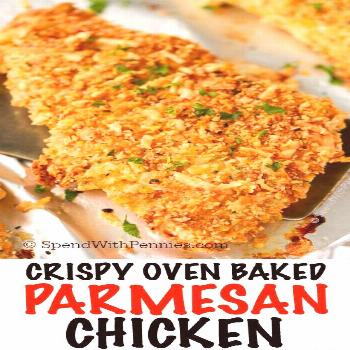 Crispy Parmesan Crusted Chicken (Baked) - Spend With Pennies