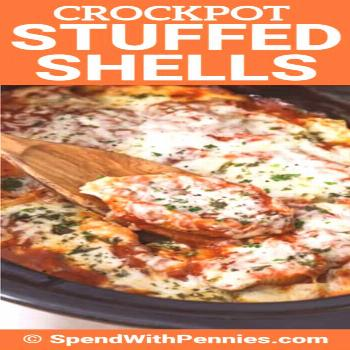 Crockpot Stuffed Shells {With Spinach & Cheese} - Spend With Pennies - -
