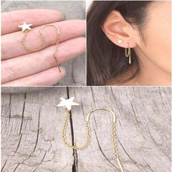 Dainty 14k gold filled threader earring and star stud combination. The chain of the threader earrin