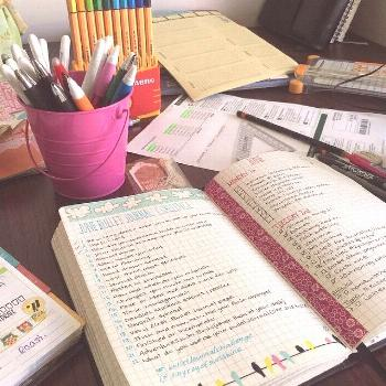 Day 4- your routine to keep bullet journal updated. (My desk when I'm in full planning mode) I'm a