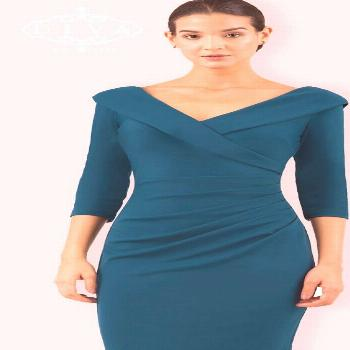 DIVA ELIZA 3/4 SLEEVE PENCIL DRESS - Teal Stretch Dresses,  Celebrity Style Box,