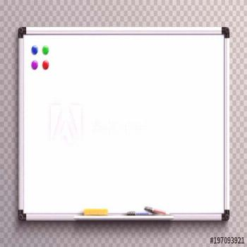 Empty whiteboard with marker pens and magnets. Business presentation office white board isolated ve