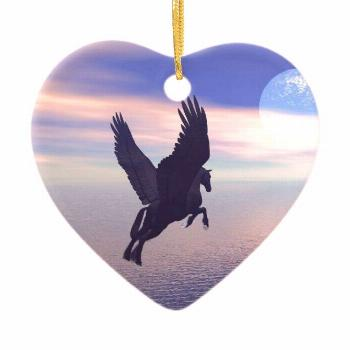 Flying Pegasus in Blue Sky Ceramic Ornament