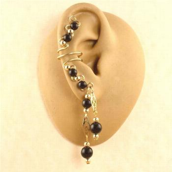 Gemstone and 14KT Gold Filled Ear Cuff Earrings - Available in 10 Gemstone Colors - Gold Ear Cuff -