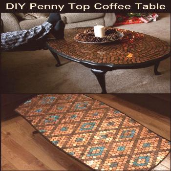 Give your coffee table a makeover using pennies#coffee