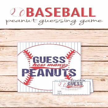 Guess How Many Peanuts Game - Baseball Baby Shower Peanut Guessing Game - Printable Instant Downloa