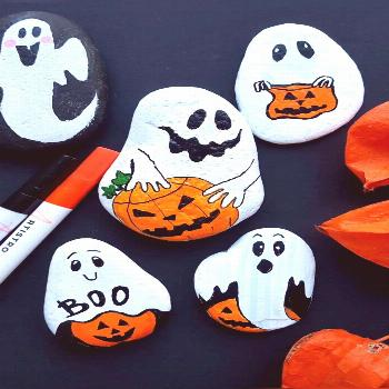 Halloween Ghosts rock painting tutorial with Artistro paint pens -  Create cute Halloween Ghosts pa