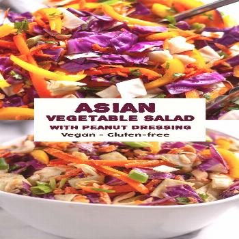 Healthy Asian Chopped Vegetable Salad  This Healthy Asian Chopped Vegetable Salad with peanut dress