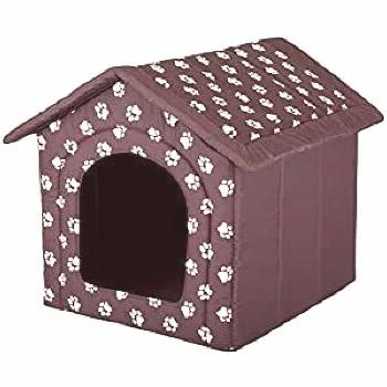 Hobbydog Dog House, Size 4, Brown with Paws  - Dog Crates Houses & Pens -