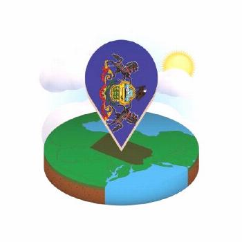Isometric round map of US state Pennsylvania and point marker with flag of Penns ,