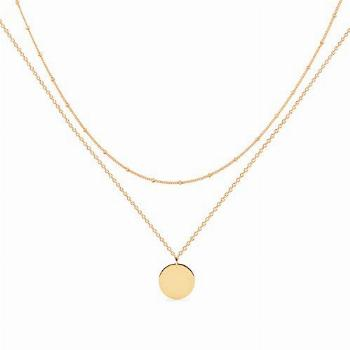 MEVECCO Gold Layered Necklace,14K Gold Disc/Circle Bead