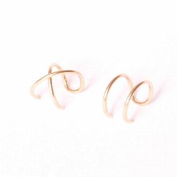 Modern Minimalist Set of 2 Ear Cuffs or Single Ear Cuff, Double & Criss Cross, No Piercing, Cartila