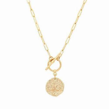 Moon and Star Medallion Pendant Necklace 18k Gold Oval Link