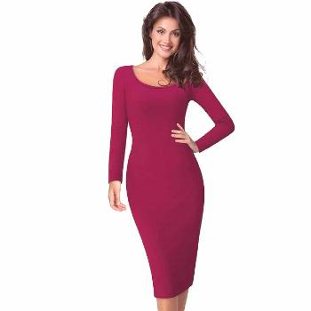 Nice-forever Casual Work Vintage Mid-Calf dress Stylish Brief Office Lady Solid Scoop Neck Full Sle