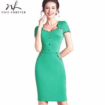 Nice-forever Fitted dress Women's summer Brief  Pinup Short Sleeve Square Neck Work Button Bodycon