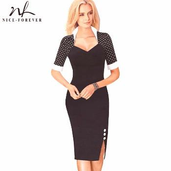 Nice-forever Polka Dots Elegant Women Patchwork Buttons Square Neck Sheath Dress business Wear to W