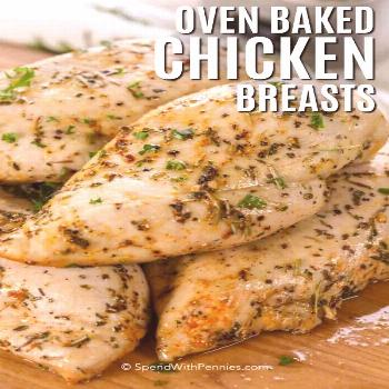 Oven Baked Chicken Breasts {Ready in 30 Mins!} - Spend With Pennies - Baked chicken recipes -