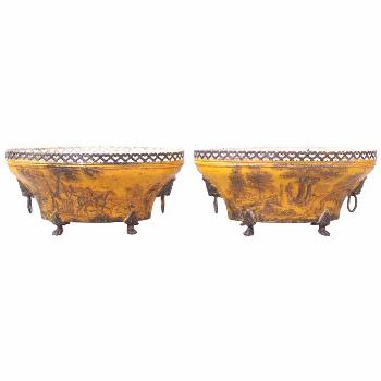 Pair Of 19th Century Tole Pierced Work Oval Jardiniere