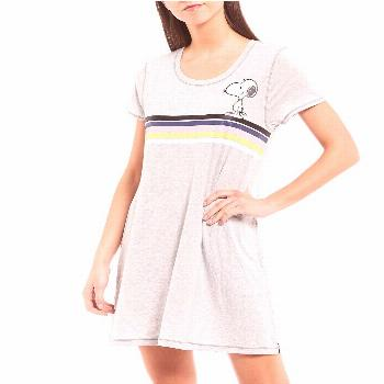 Peanuts Snoopy  Woodstock Striped Screen Print Jersey Knit Sleep Shirt -  XL