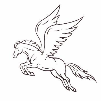 Pegasus horse. White pegasus horse with wings. Vector illustration ,