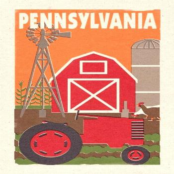 Pennsylvania - Country - Woodblock (6 Sizes Art Prints, Giclees, Posters, Wood & Metal Signs, Tote