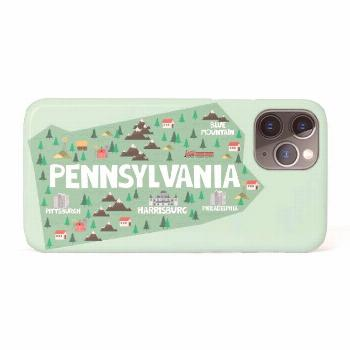 Pennsylvania Illustrated Map iPhone 11 Pro Case