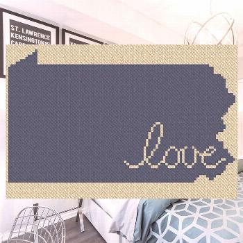 Pennsylvania Love C2C Afghan Crochet Pattern | Blue Frog Creek Stitch up this one of a kind blanket