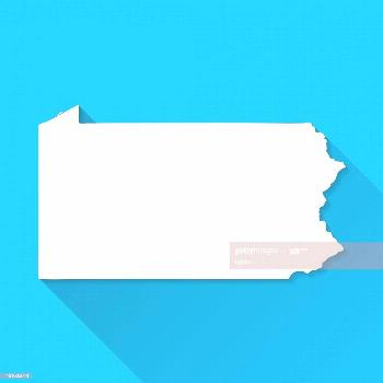 Pennsylvania Map On Blue Background Long Shadow Flat Design Illustration ,