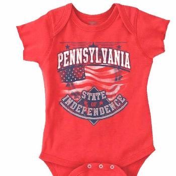 Pennsylvania State Of Independence USA Flag Romper Bodysuit,