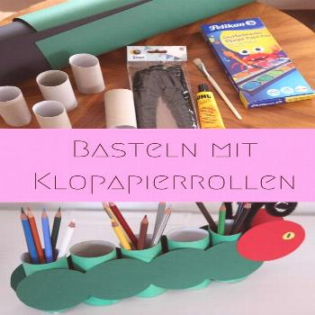 Pens holder tinker with children from toilet paper rolls - caterpillar hungry -  Handicrafts with t