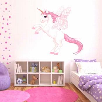 Pink Unicorn Pegasus Wall Decal Full Colour Sticker Girls Wall Bedroom Playroom ...#bedroom
